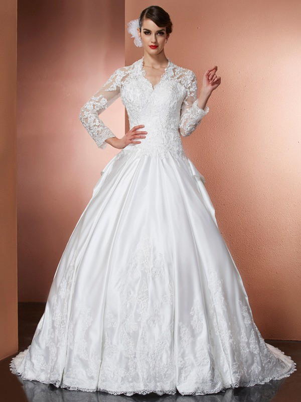 Cathedral Train A-Line/Princess V-neck Long Sleeves Applique Satin Wedding Dresses