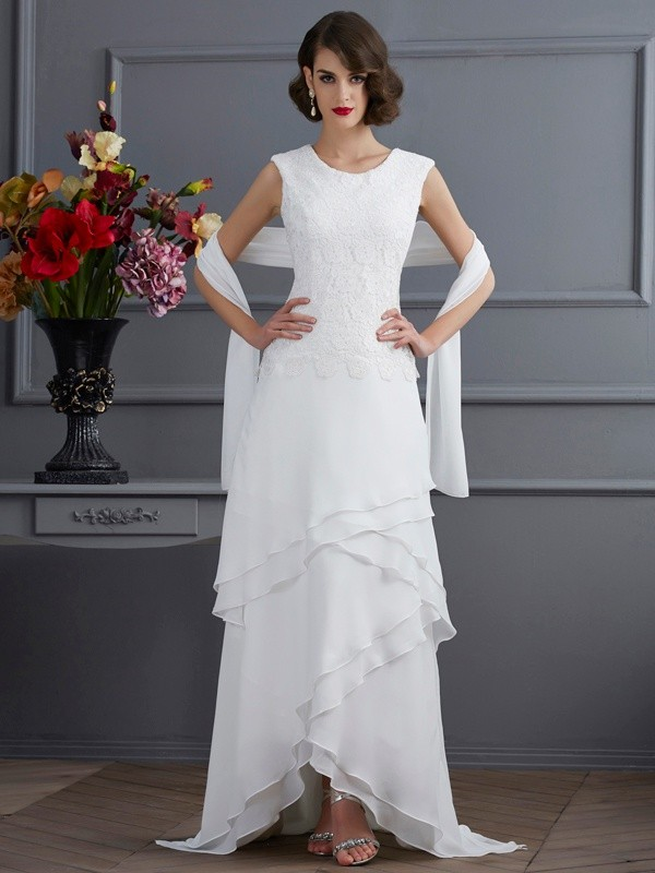 Asymmetrical Sheath/Column Bateau Sleeveless Lace Chiffon Mother of the Bride Dresses