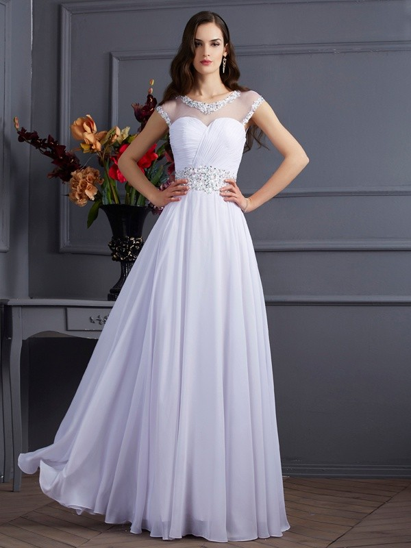 Floor-Length A-Line/Princess Bateau Short Sleeves Beading Chiffon Dresses