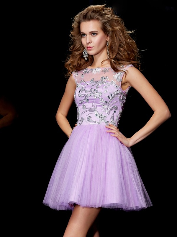 Short/Mini A-Line/Princess Bateau Short Sleeves Beading Satin Dresses