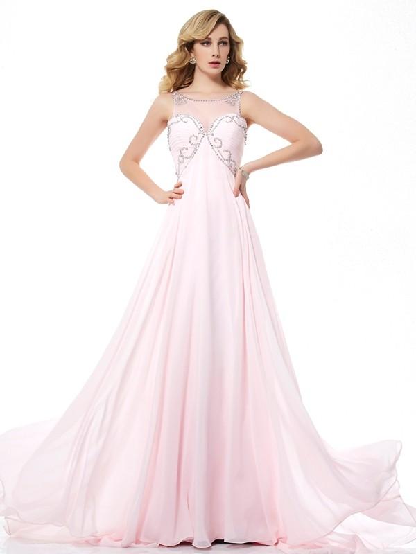 Sweep/Brush Train A-Line/Princess Scoop Sleeveless Beading Chiffon Dresses