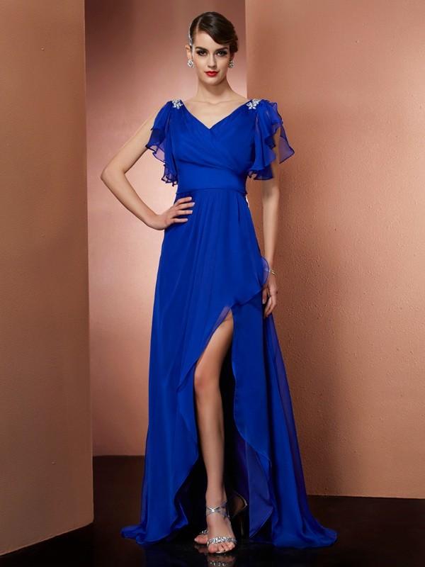 Asymmetrical A-Line/Princess V-neck Sleeveless Beading Chiffon Dresses