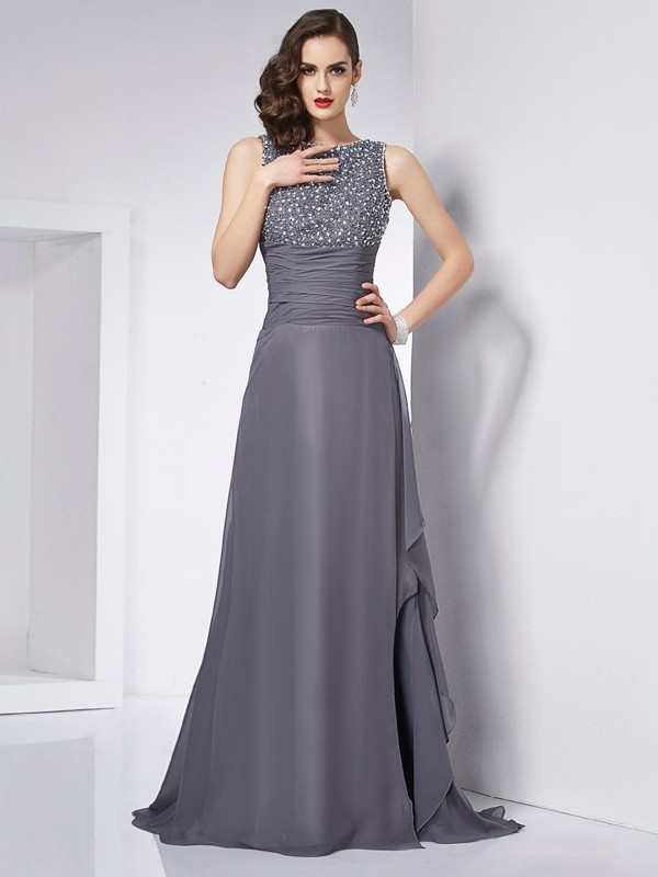 Sweep/Brush Train A-Line/Princess Jewel Sleeveless Beading Chiffon Dresses