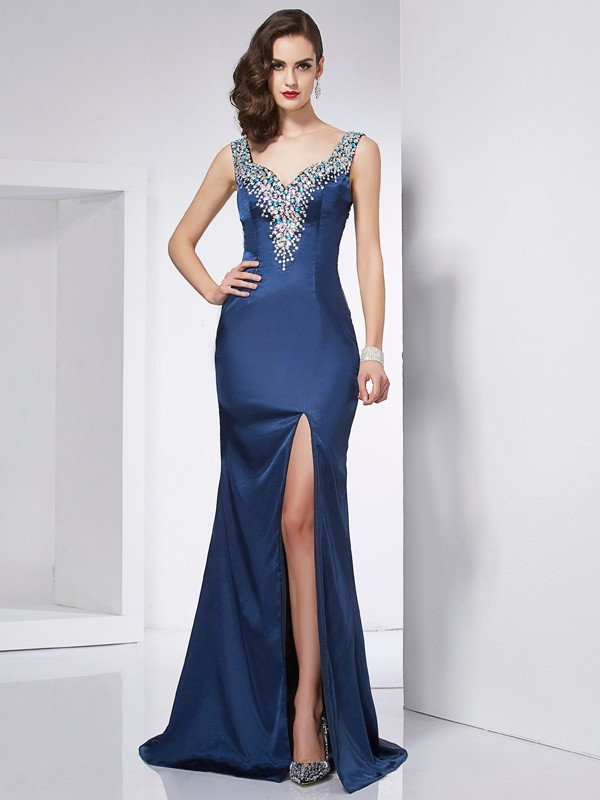 Sweep/Brush Train Trumpet/Mermaid Straps Sleeveless Beading Elastic Woven Satin Dresses