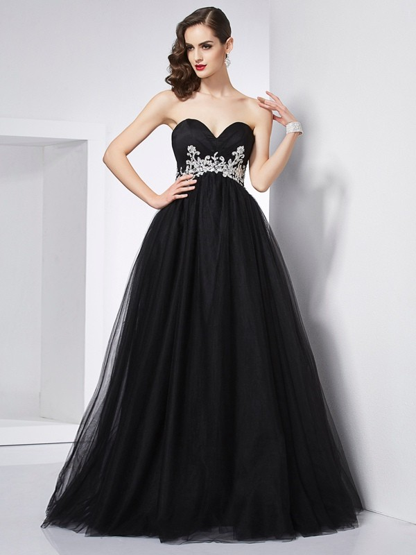Floor-Length Ball Gown Sweetheart Sleeveless Applique Net Dresses