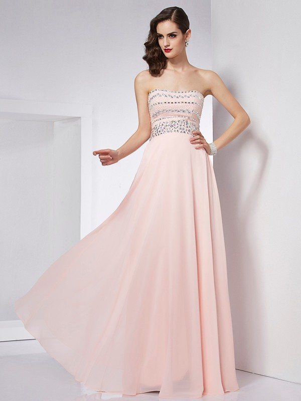 Floor-Length A-Line/Princess Strapless Sleeveless Beading Chiffon Dresses