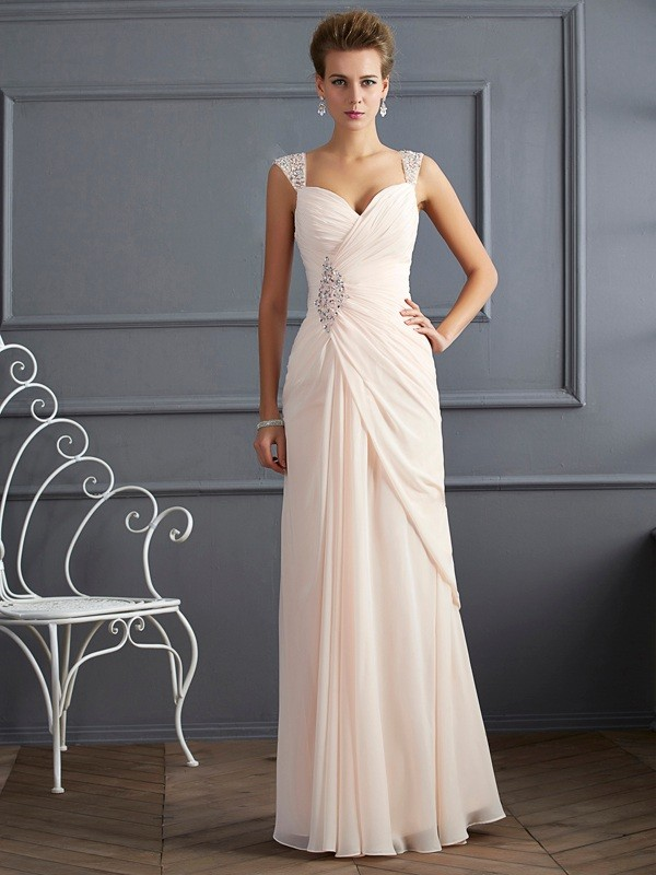 Floor-Length Sheath/Column Straps Sleeveless Beading Chiffon Dresses