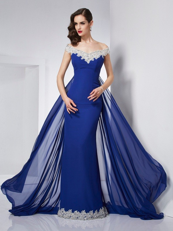 Floor-Length Trumpet/Mermaid Off-the-Shoulder Sleeveless Applique Chiffon Dresses