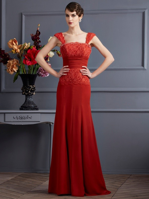 Floor-Length Sheath/Column Straps Sleeveless Lace Chiffon Dresses