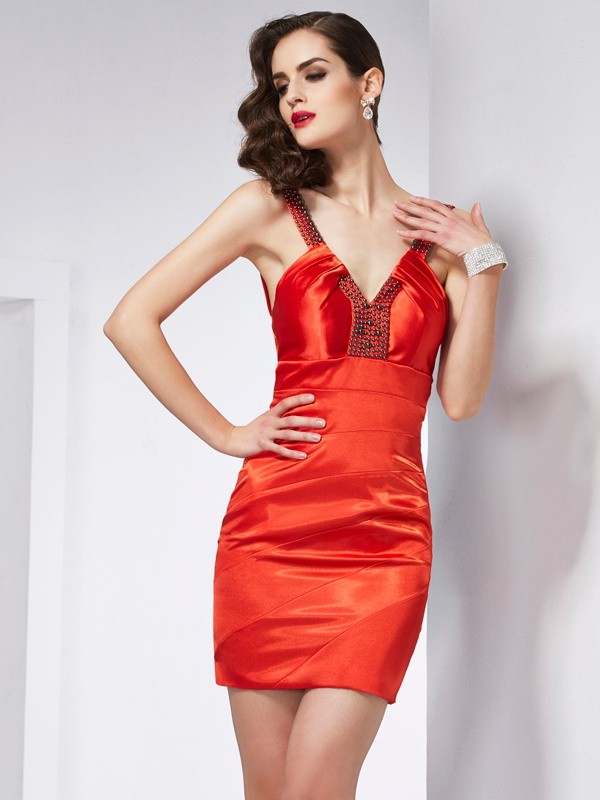 Short/Mini Sheath/Column V-neck Sleeveless Beading Elastic Woven Satin Dresses