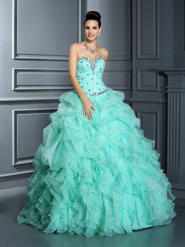 387c64db8473 Floor-Length Ball Gown Sweetheart Sleeveless Beading Organza Dresses