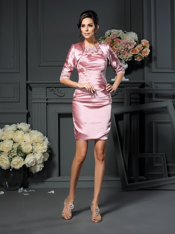 Short/Mini Sheath/Column Scoop Sleeveless Applique Elastic Woven Satin Mother of the Bride Dresses