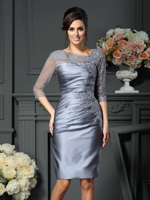 Knee-Length Sheath/Column Scoop 1/2 Sleeves Beading Satin Mother of the Bride Dresses