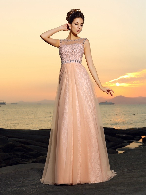 Floor-Length A-Line/Princess Bateau Sleeveless Lace Chiffon Dresses