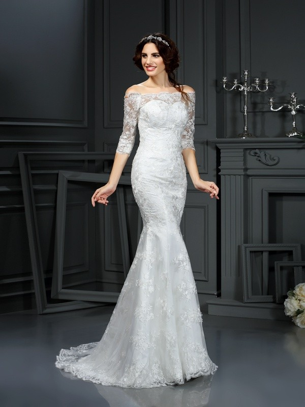 Sweep/Brush Train Sheath/Column Off-the-Shoulder 1/2 Sleeves Lace Wedding Dresses