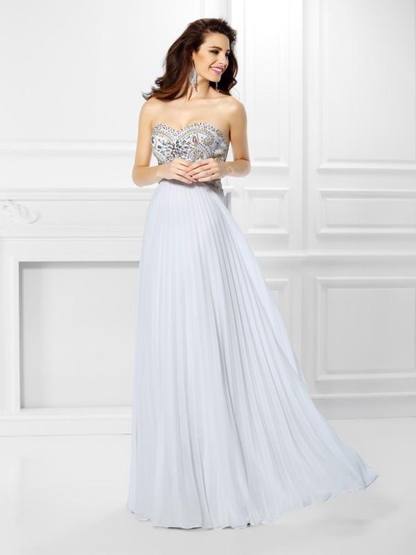 Floor-Length Empire Sweetheart Sleeveless Beading Chiffon Dresses