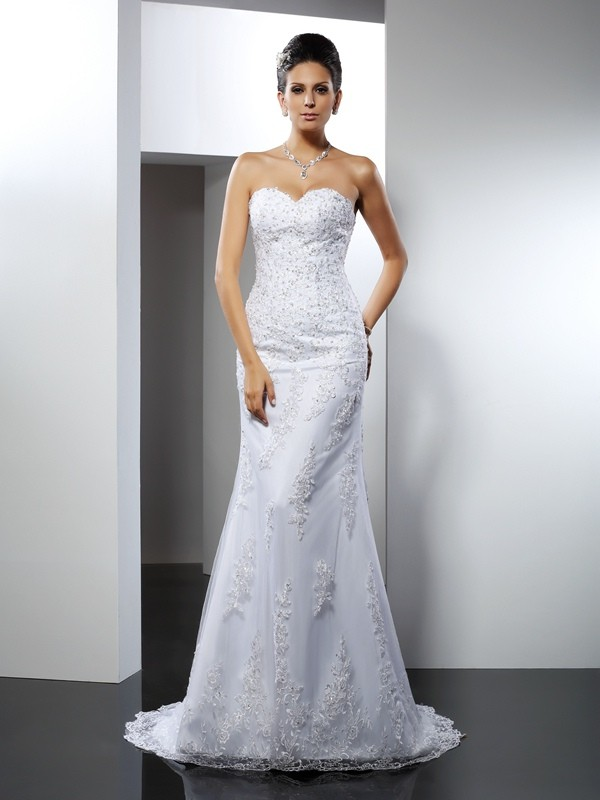 Court Train Trumpet/Mermaid Sweetheart Sleeveless Lace Satin Wedding Dresses