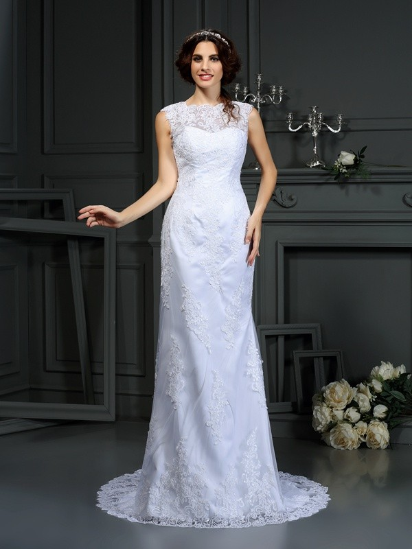 Court Train Sheath/Column High Neck Sleeveless Lace Wedding Dresses