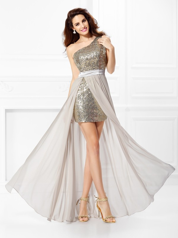 Floor-Length A-Line/Princess One-Shoulder Sleeveless Sequin Chiffon Dresses