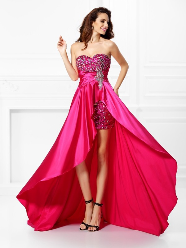 Asymmetrical A-Line/Princess Sweetheart Sleeveless Beading Elastic Woven Satin Dresses