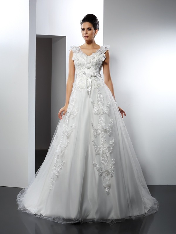 Cathedral Train A-Line/Princess Straps Sleeveless Lace Satin Wedding Dresses