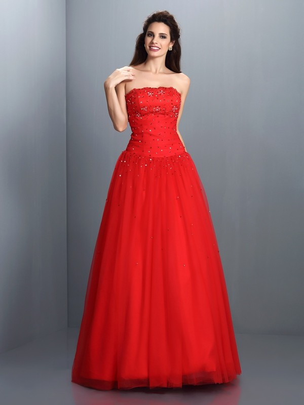 Floor-Length Ball Gown Strapless Sleeveless Beading Organza Dresses