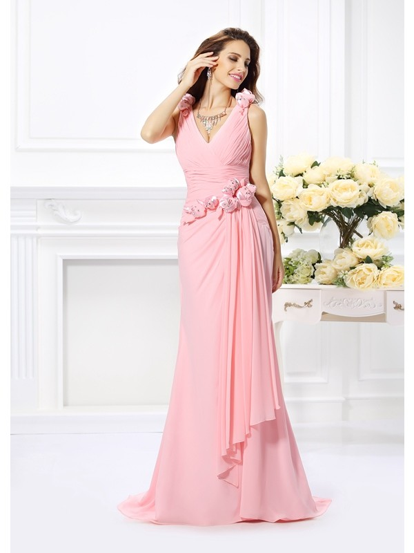 Sweep/Brush Train Trumpet/Mermaid V-neck Sleeveless Hand-Made Flower Chiffon Bridesmaid Dresses