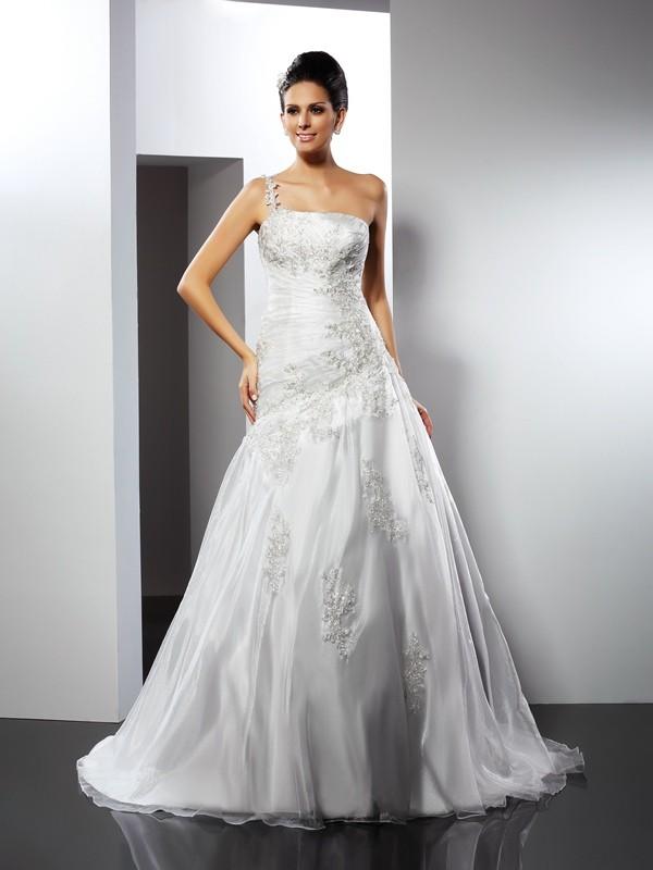 Chapel Train A-Line/Princess One-Shoulder Sleeveless Applique Satin Wedding Dresses