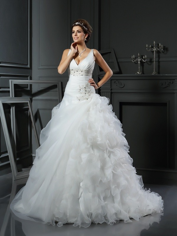 Court Train Ball Gown V-neck Sleeveless Ruffles Organza Wedding Dresses