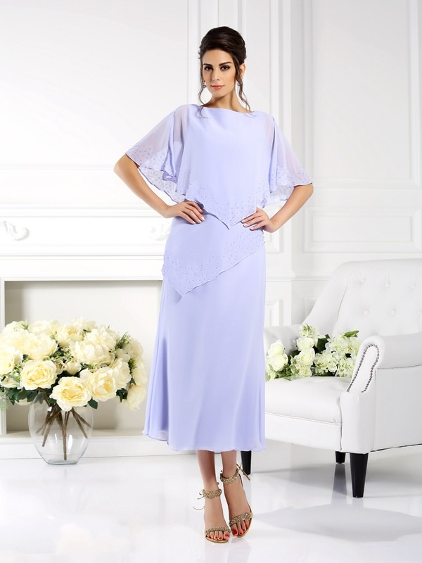 Ankle-Length Sheath/Column Bateau 1/2 Sleeves Other Chiffon Mother of the Bride Dresses
