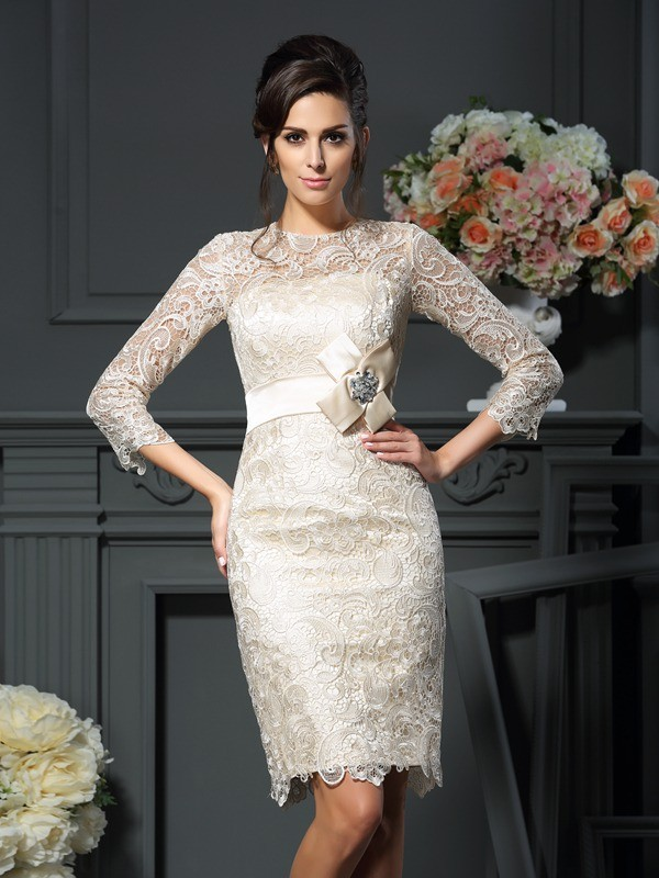 Short/Mini Sheath/Column Scoop 3/4 Sleeves Bowknot Lace Mother of the Bride Dresses