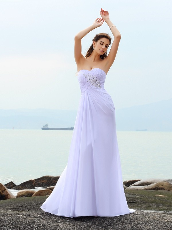 Chapel Train Sheath/Column Sweetheart Sleeveless Beading Chiffon Wedding Dresses