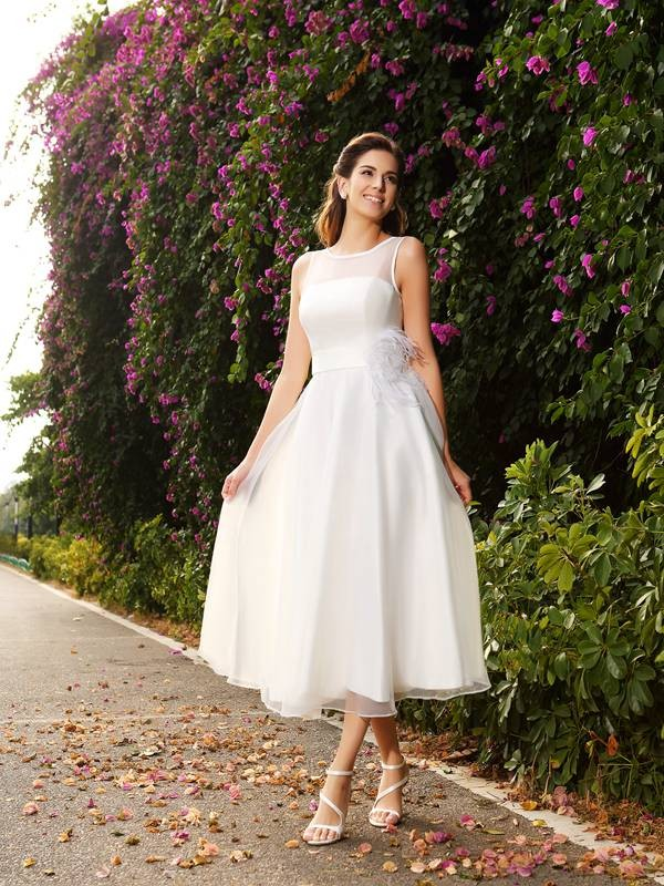 Ankle-Length A-Line/Princess Bateau Sleeveless Sash/Ribbon/Belt Satin Wedding Dresses