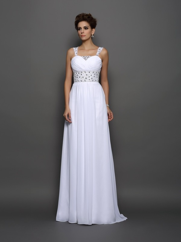 Court Train A-Line/Princess Straps Sleeveless Beading Chiffon Wedding Dresses