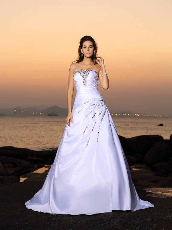 Chapel Train A-Line/Princess Strapless Sleeveless Beading Satin Wedding Dresses