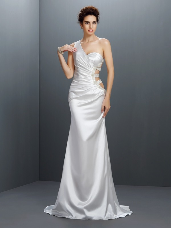 Sweep/Brush Train Trumpet/Mermaid One-Shoulder Sleeveless Beading Elastic Woven Satin Dresses