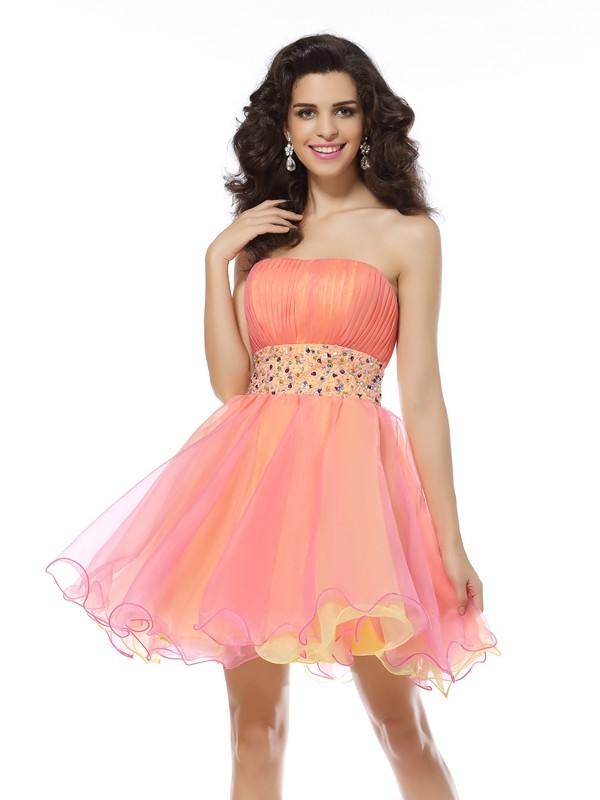 Short/Mini A-Line/Princess Strapless Sleeveless Beading Organza Dresses