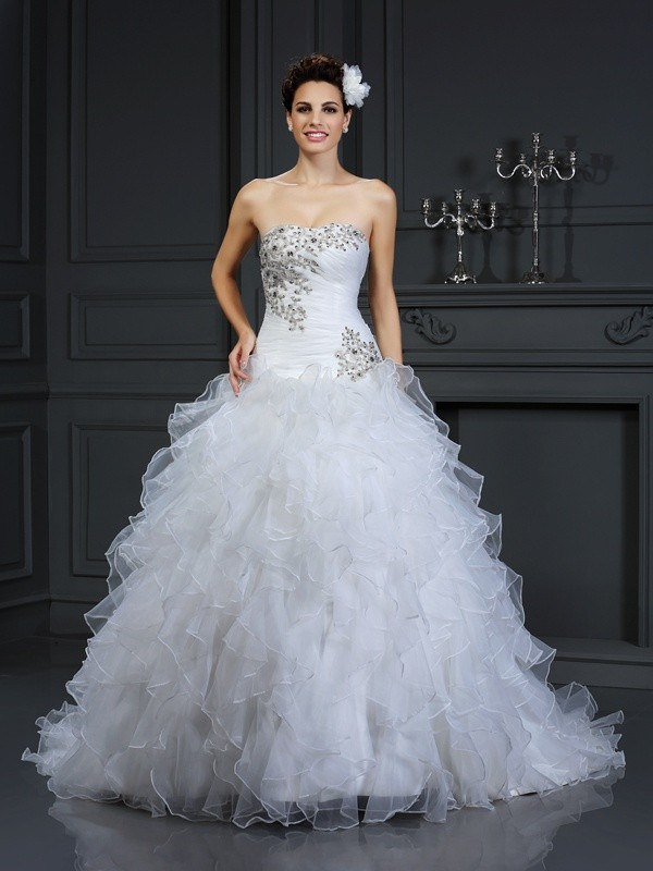 Chapel Train Ball Gown Strapless Sleeveless Beading Organza Wedding Dresses