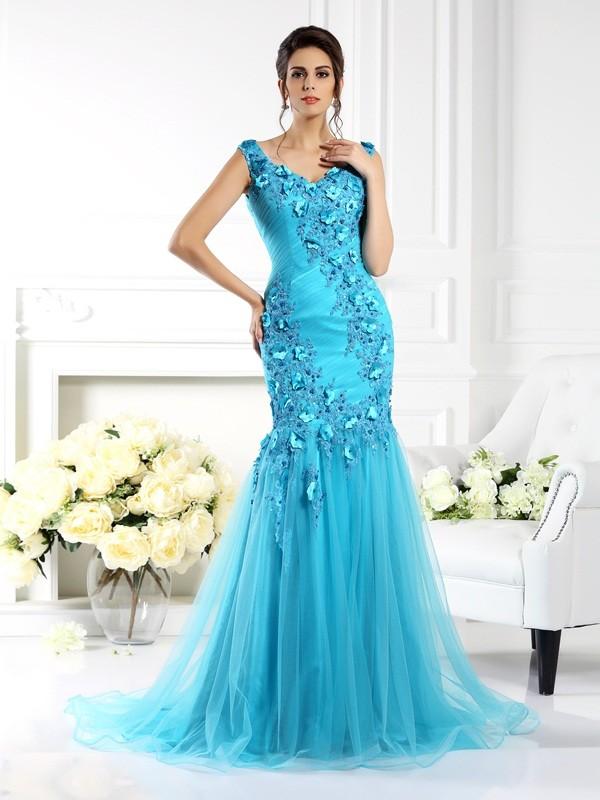 Sweep/Brush Train Trumpet/Mermaid Straps Sleeveless Applique Silk like Satin Dresses