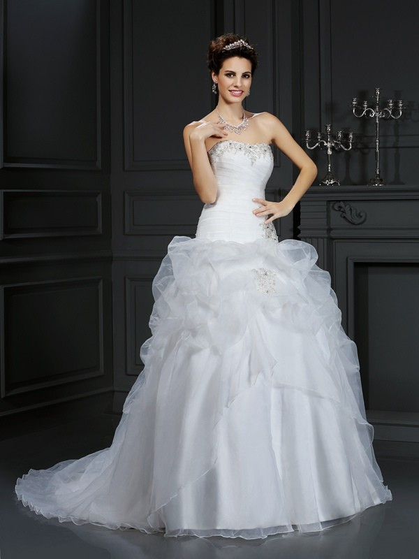 Court Train Ball Gown Strapless Sleeveless Beading Organza Wedding Dresses