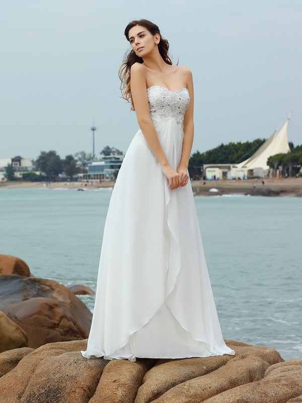 Floor-Length A-Line/Princess Sweetheart Sleeveless Beading Chiffon Wedding Dresses