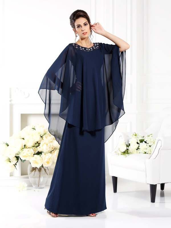 Floor-Length A-Line/Princess Scoop 3/4 Sleeves Other Chiffon Mother of the Bride Dresses