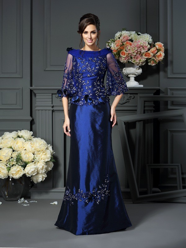 Floor-Length A-Line/Princess Scoop 1/2 Sleeves Beading Taffeta Mother of the Bride Dresses