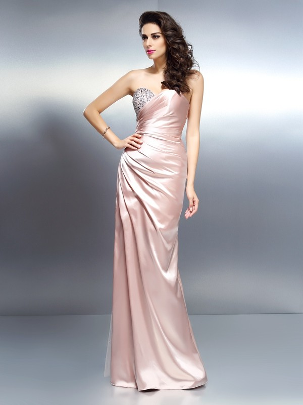 Floor-Length Trumpet/Mermaid Sweetheart Sleeveless Beading Elastic Woven Satin Dresses