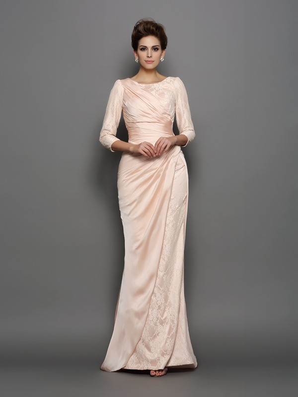 Sweep/Brush Train Trumpet/Mermaid Bateau 3/4 Sleeves Lace Chiffon Mother of the Bride Dresses