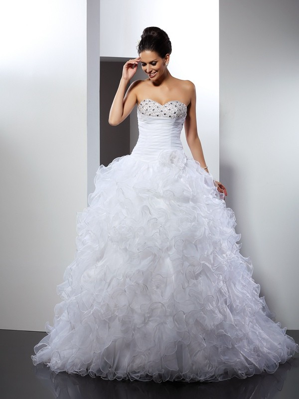 Cathedral Train Ball Gown Sweetheart Sleeveless Beading Organza Wedding Dresses