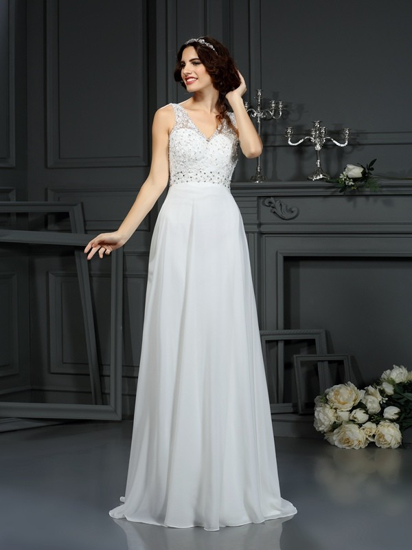 Sweep/Brush Train A-Line/Princess V-neck Sleeveless Lace Chiffon Wedding Dresses