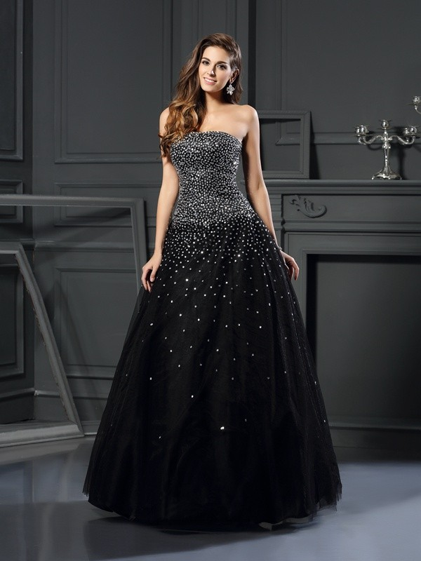Floor-Length Ball Gown Strapless Sleeveless Beading Satin Dresses