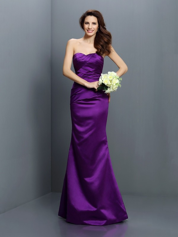 Floor-Length Trumpet/Mermaid Strapless Sleeveless Pleats Satin Dresses