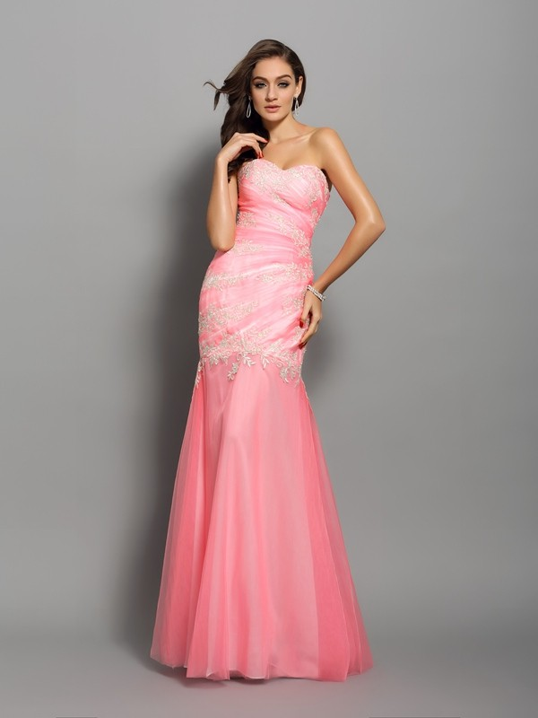 Floor-Length Trumpet/Mermaid Sweetheart Sleeveless Beading Elastic Woven Satin Dresses
